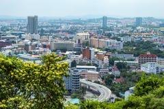 Pejzażu miejskiego widoku punkt Pattaya plaże zdjęcie stock