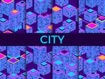 Pejzażu miejskiego wzoru bezszwowy set Isometric drapacze chmur, metropolia błękitny fiołek wektor ilustracji