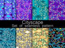 Pejzażu miejskiego wzoru bezszwowy set Isometric miasto budynki, metropolia wektor ilustracja wektor