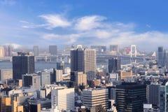 Pejzaże miejscy Tokio, miasto powietrzny drapacza chmur widok biurowa budowa Obrazy Royalty Free