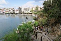 Pejzaż miejski Agios Nikolaos Crete Grecja Zdjęcia Stock