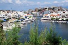 Pejzaż miejski Agios Nikolaos Crete Grecja Obrazy Stock