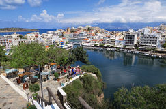 Pejzaż miejski Agios Nikolaos Crete Grecja Fotografia Stock