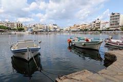 Pejzaż miejski Agios Nikolaos Crete Grecja Zdjęcia Royalty Free