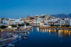 Pejzaż miejski Agios Nikolaos, Grecja Zdjęcie Stock