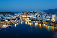 Pejzaż miejski Agios Nikolaos, Grecja Obrazy Royalty Free