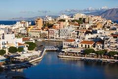 Pejzaż miejski Agios Nikolaos, Grecja Zdjęcie Royalty Free