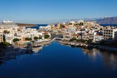 Pejzaż miejski Agios Nikolaos, Grecja Fotografia Stock