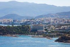 Pejzaż miejski Agios Nikolaos, Grecja Zdjęcia Stock
