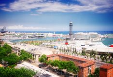 Pejzaż miejski Barcelona z portowym Vell, Hiszpania Fotografia Stock