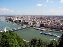 Pejzaż miejski Budapest, widok od Gellert wzgórza obraz royalty free