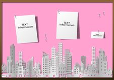 Pejzaż miejski budynek i drapacz chmur w papierze projektujemy Fotografia Stock