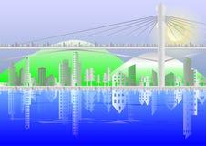 Pejzaż miejski budynki i zawieszenie mosty Obraz Royalty Free