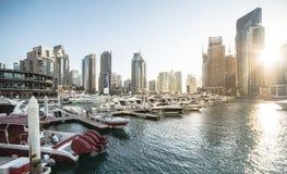 pejzaż miejski Dubai marina panoramiczny sceny zmierzch Fotografia Royalty Free