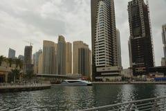 pejzaż miejski Dubai marina panoramiczny sceny zmierzch obrazy stock