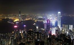 pejzaż miejski Hong kong noc Obraz Royalty Free