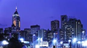 pejzaż miejski Hong kong noc Zdjęcia Royalty Free