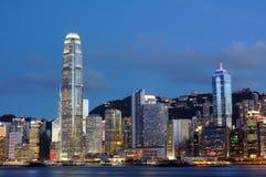 pejzaż miejski Hong kong noc scena Fotografia Stock