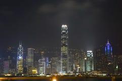 pejzaż miejski Hongkong noc Zdjęcia Royalty Free