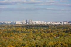 Pejzaż miejski Kiyv na lewym brzeg rzeki Dnipro Obrazy Stock