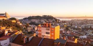 Pejzaż miejski Lisbon, Portugalia, przy zmierzchem Obrazy Royalty Free