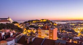 Pejzaż miejski Lisbon, Portugalia, przy zmierzchem Obraz Stock