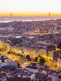 Pejzaż miejski Lisbon, Portugalia, przy zmierzchem Fotografia Stock