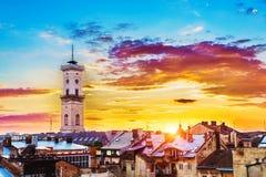 pejzaż miejski Lviv obraz royalty free