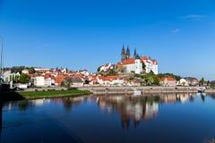 Pejzaż miejski Meissen Elbe i rzeka Zdjęcie Royalty Free