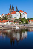Pejzaż miejski Meissen z Albrechtsburg kasztelem Obrazy Royalty Free