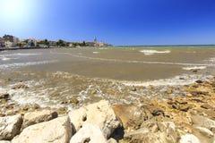 Pejzaż miejski Porec turystyczna wioska przy Adriatyckim morzem Zdjęcie Royalty Free