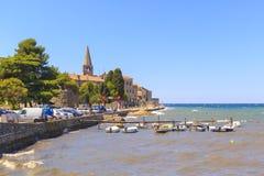 Pejzaż miejski Porec turystyczna wioska przy Adriatyckim morzem Fotografia Royalty Free