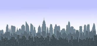 Pejzaż miejski przy zmierzchem Obrazy Royalty Free
