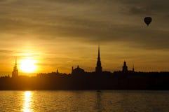 pejzaż miejski Stockholm zmierzch Fotografia Stock