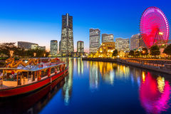 Pejzaż miejski Yokohama miasto przy zmierzchem Zdjęcia Stock