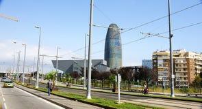 Pejzaż miejski z Agbar wierza i Disseny muzeum w Barcelona Obrazy Royalty Free