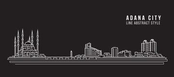 Pejzażu miejskiego budynku Kreskowej sztuki Wektorowy Ilustracyjny projekt - Adana miasto Zdjęcia Stock