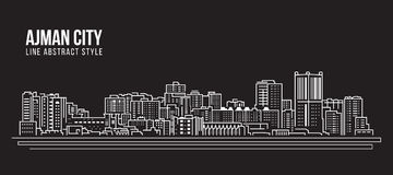 Pejzażu miejskiego budynku Kreskowej sztuki Wektorowy Ilustracyjny projekt - Ajman miasto Obrazy Royalty Free