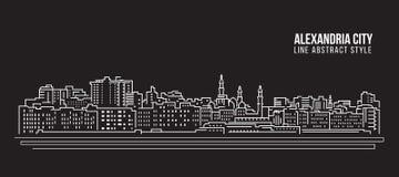 Pejzażu miejskiego budynku Kreskowej sztuki Wektorowy Ilustracyjny projekt - Aleksandria miasto Fotografia Royalty Free