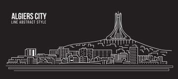 Pejzażu miejskiego budynku Kreskowej sztuki Wektorowy Ilustracyjny projekt - Algiers miasto Zdjęcia Stock