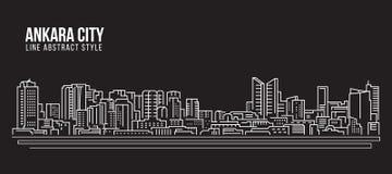 Pejzażu miejskiego budynku Kreskowej sztuki Wektorowy Ilustracyjny projekt - Ankara miasto Obrazy Stock