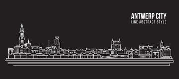 Pejzażu miejskiego budynku Kreskowej sztuki Wektorowy Ilustracyjny projekt - Antwerp miasto Obraz Royalty Free