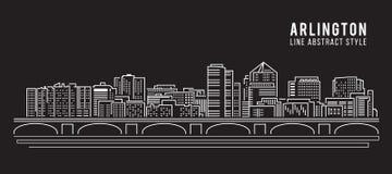 Pejzażu miejskiego budynku Kreskowej sztuki Wektorowy Ilustracyjny projekt - Arlington miasto Obraz Stock