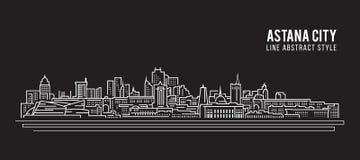 Pejzażu miejskiego budynku Kreskowej sztuki Wektorowy Ilustracyjny projekt - Astana miasto Zdjęcie Royalty Free