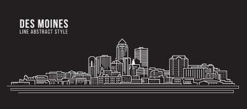 Pejzażu miejskiego budynku Kreskowej sztuki Wektorowy Ilustracyjny projekt - Des Moines miasto Obraz Stock