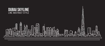 Pejzażu miejskiego budynku Kreskowej sztuki Wektorowy Ilustracyjny projekt - Dubaj linia horyzontu Zdjęcia Stock