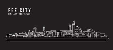 Pejzażu miejskiego budynku Kreskowej sztuki Wektorowy Ilustracyjny projekt - fezu miasto Zdjęcie Royalty Free