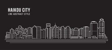 Pejzażu miejskiego budynku Kreskowej sztuki Wektorowy Ilustracyjny projekt - Haikou miasto Obraz Stock