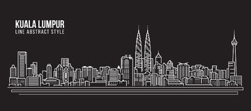 Pejzażu miejskiego budynku Kreskowej sztuki Wektorowy Ilustracyjny projekt - Kuala Lumpur linia horyzontu Zdjęcie Stock