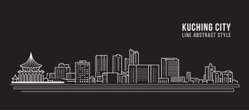 Pejzażu miejskiego budynku Kreskowej sztuki Wektorowy Ilustracyjny projekt - Kuching miasto Zdjęcie Stock